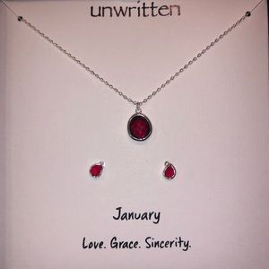 Birthstone Necklace & Earring Set